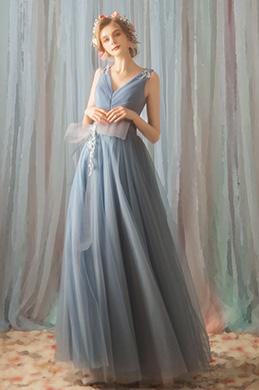 f72aaf3cc354 eDressit Blue Deep V-Cut Long Tulle Evening Party Dress (36192532)