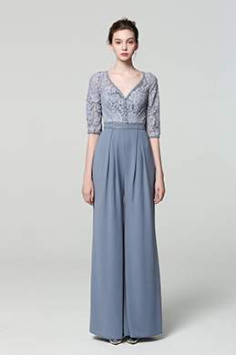 eDressit New Grey V Cut Lace Sleeves Jumpsuit Dress (02190108)