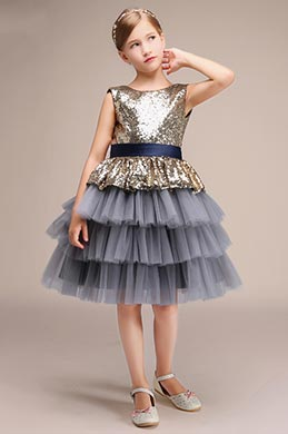 Sequin Top Grey Layered Skirt Girl Wedding Party Mini Dress(28191508)