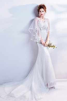 eDressit White Sheer Lace Cape formal Wedding Bridal Dress (36204907)