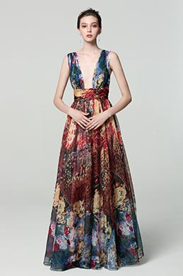 eDressit Strap Plunging V-Cut  Print Floral Ball Gown Dress(00183168G)