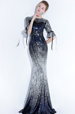 eDressit Sexy Sequins Mid Sleeves Mermaid Party Prom Dress (36217905)