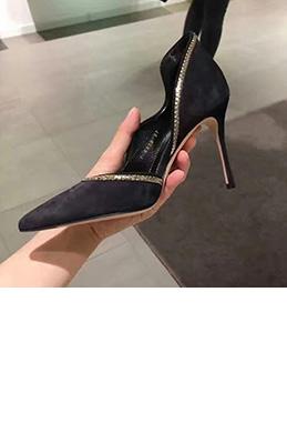 Women Sexy Suede Toe Closed Pointed High Heels Shoes (0919106)