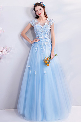 eDressit Blue Cap Sleeves Tulle Party Eveniing Ball Dress (36210805)