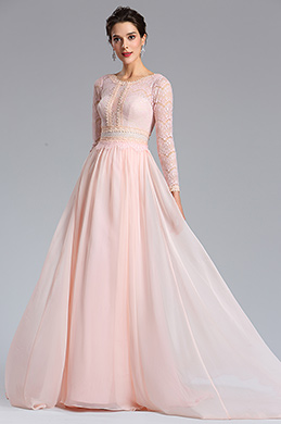 eDressit Pink Lace Long Sleeves Prom Evening Dress (02182101)