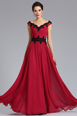 eDressit Cap Sleeve V-Neck Red Evening Formal Dress (02183102)