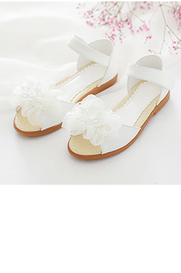 eDressit Girl's Open Toe Leather Flat Flower Sandals Shoes (250013)