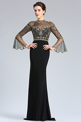 eDressit Sleeves Gold&Black Beaded Evening Prom Gown (36181600)