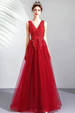eDressit Red V-Cut Lace Appliques Tulle Elegant Party Dress (36212602)