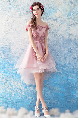 eDressit Pink Floral Tulle Cocktail Party Prom Dress (35190301)