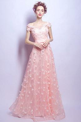 eDressit Rose Robe de Soirée En Dentelle Avec Jupe à Fleurs (36199401)