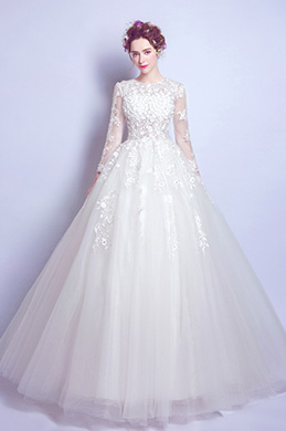 eDressit Sexy Long Sleeves Tulle Party Wedding Dress (36195207)