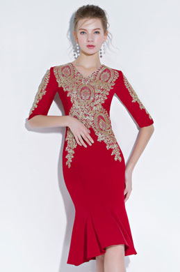 eDressit New Red with Gold Embroidery Short Party Dress (35197402)
