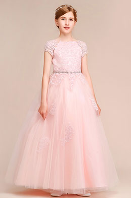 eDressit Fairy Pink Short Sleeves A-line Flower Girl Dress (27193201)
