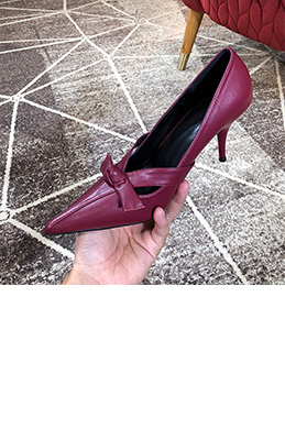 Women's Leather High Heel Closed Toe Pumps Shoes (0919036)