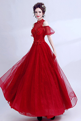 eDressit Red High Neck Off Shoulder Tulle Party Prom Dress (36210202)