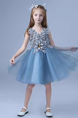 eDressit Blue Sleeveless Cute Wedding Flower Girl Party Dress (28197705)