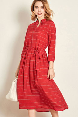 eDressit Red Classic Shirt Dress Wear to Work (30192402)