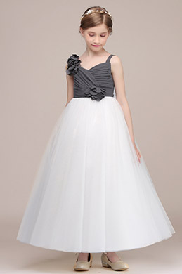 eDressit Grey / White Tulle Wedding Flower Girl Dress (27194007)