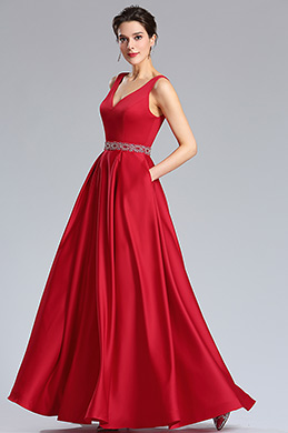 eDressit Red Beaded waistline Plunging V Neck Formal Prom Dress (36181802)
