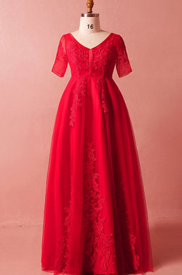 eDressit Red Short Sleeves Lace Plus Size Dress Women Dress (31192502)