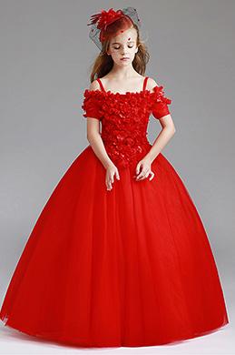 eDressit Red Off Shoulder Children Wedding Flower Girl Dress (27200702)