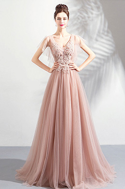 eDressit New V-Cut Pink Embroidery Tulle Prom Evening Dress (36190846)