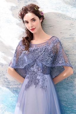 eDressit Lila Robe de Soirée Avec Cape Perlée et Broderies  (36190506)