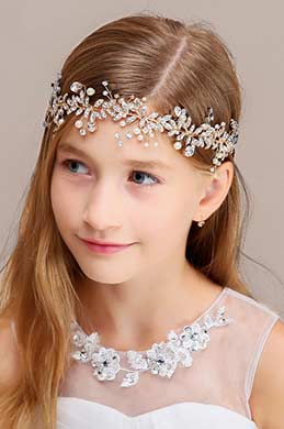 eDressit Floral Beads Girl Headwear Band Hair Hoop  (13191526)
