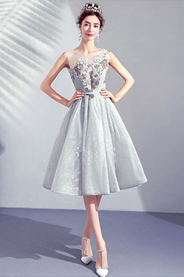 eDressit Grey Lace  Illusion Neck Embroidery Party Ball Dress (35193108)
