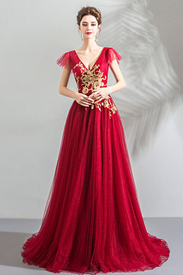eDressit Red Deep V-Cut Gold Embroidery Prom gown Party Dress (36203902)