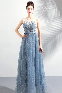 eDressit New Grey-Blue Elegant Emboridery Sparkle Formal Dress (36198532)