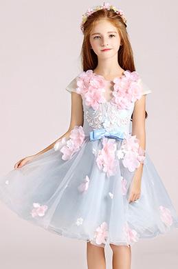eDressit Light Blue Cute Handmade Wedding Flower Girl Party Dress (28194905)