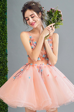eDressit Barbie-Pink V-Cut Short Tulle Cocktail Party Dress (35193001)