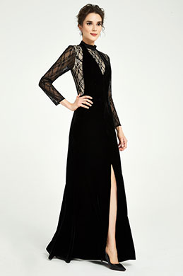 eDressit Black High Neck Lace Sleeves Slit Party Dress (02191100)