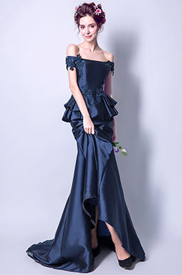 eDressit Navy Blue Off Shoulder Mermaid Party Prom Gown (36199905)