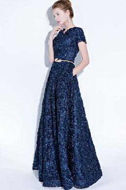 eDressit Blue Short Sleeves Floral Long Party Evening Ball Dress (36218105)
