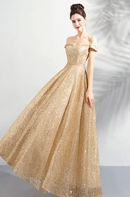 eDressit Gold Sequins Sparkle OFF-Shoulder Party Evening Dress (36190624)