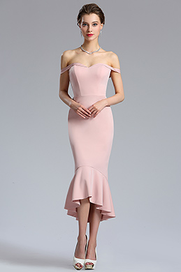 eDressit Rose Pink Off Shoulder Tea Length Prom Dress (04181546)