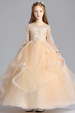 eDressit Long Beige Princess Party Stage Flowergirl Dress (27191314)