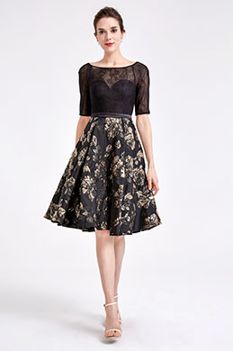 eDressit Half Sleeve Black Floral Cocktail Dress (04190500)