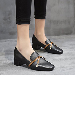 Women Block Heels Closed Toe Pumps Shoes (0919089)