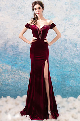 eDressit Burgundy V-Cut OFF Shoulder Velvet Slit Party Evening Dress (36200417)