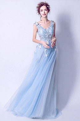 eDressit Light Blue V-Cut Beaded Tulle Women Party Dress (36199832)
