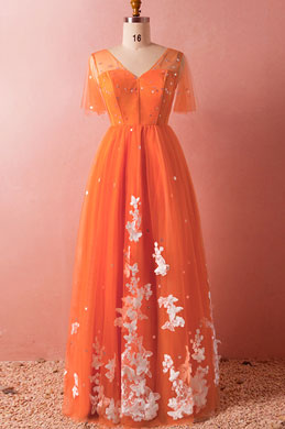 eDressit Orange Short Sleeves Tulle Evening Dress Prom Dress (31193410)