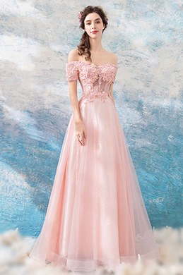 eDressit Pink OFF Shoulder Embroidery Party Ball Gown (36209501)
