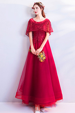 eDressit Red Cape Embroidery Beaded Evening Gown Party Dress (36197802)