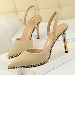 Women's Suede Toe Closed Metal Beads Pumps Sandals Shoes (0919017)