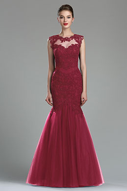 eDressit Sparkly Burgundy Beaded Lace Prom Gown (36181217)