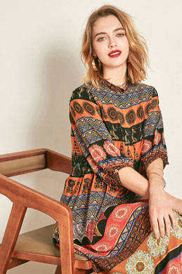 eDressit Classic Silk Long Sleeves Printed Tunic Dress (30191268)